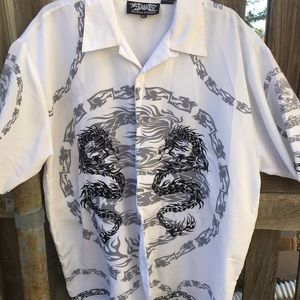 Dragon Print Button Down Shirt